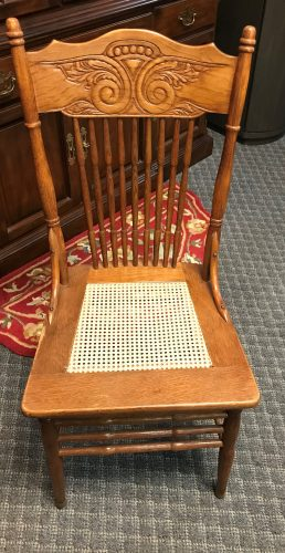 Set Of 3 Oak Caned Chairs