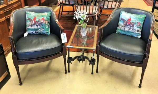 Set/2 Gentleman Leather Barrel Chairs With Hobnail