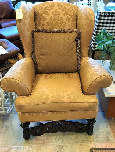 2-Drexel Heritage Silk Brocade Wing Back Arm Chairs
